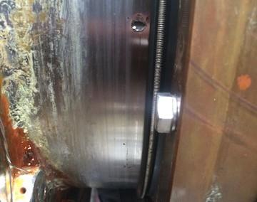pitting on chrome steel stern tube liner