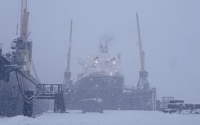 Snow at shipyard in Lithuania