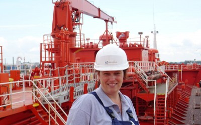 Marianne from our office on a vessel in Sweden
