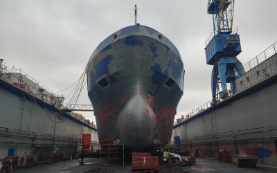A vessel in drydock